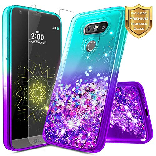 LG V20 Case w/[Tempered Glass Screen Protector], NageBee Glitter Liquid Quicksand Waterfall Floating Flowing Sparkle Shiny Bling Diamond Girls Cute Case for LG V20 -Aqua/Purple