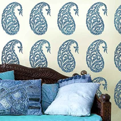 Jaipur Paisley Wall Art Stencil - Medium - DIY Home Decor - Easy DIY ...