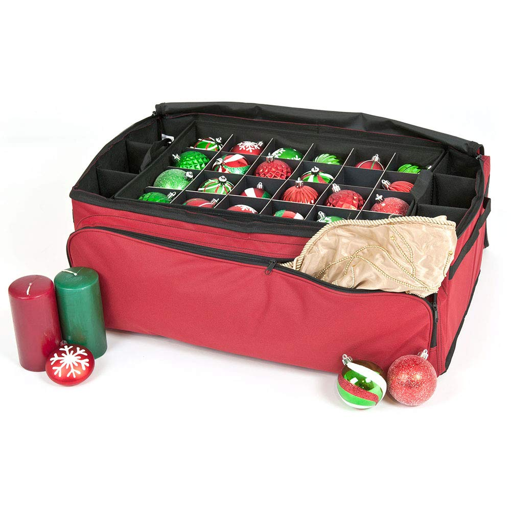 [Red Christmas Ornament Storage Box with Dividers] - (Holds 72 Ornaments up to 3 Inches in Diameter) | Acid-Free Removable Trays with Separators | Extra Front and Side Pockets for Additional Storage by Santa's Bags