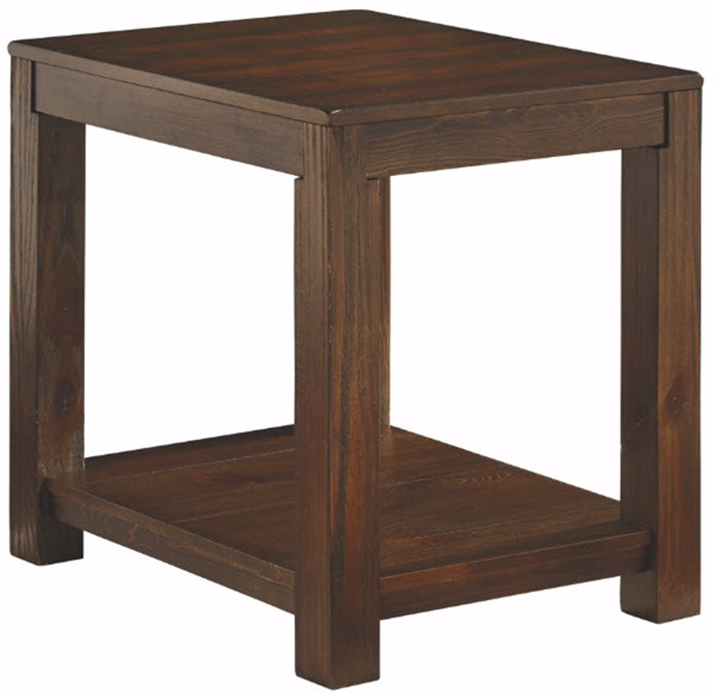 Ashley Furniture Signature Design - Grinlyn Rectangular End Table - 1 Fixed Shelf - Vintage Casual - Rustic Brown