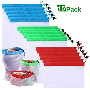 Penghailv 15Pcs Premium Mesh Produce Bags, Reusable Eco-Friendly Bag, Washable Strong, for Fruit, Vegetable, Toys, Grocery, and Supermarket Shopping Storage, 3 Size (12x17-12x14-12x8 inch × 5)