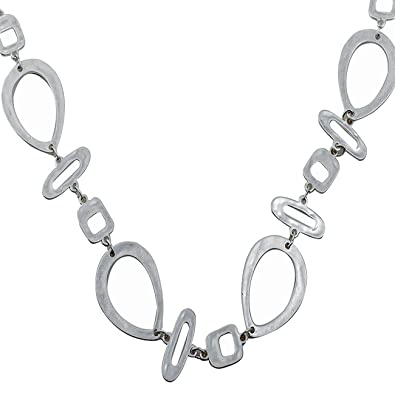 Unique Gifts On The Web Distinctive Costume Jewellery Silver Plated Large  Abstract Shape Link Long Length Necklace  Amazon.co.uk  Jewellery ee522fed1592