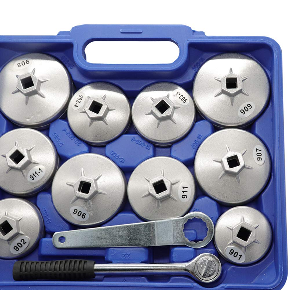 elegantstunning 23pcs/Set Aluminum Alloy Cup Type Oil Filter Cap Wrench Socket Removal Tool by elegantstunning (Image #6)