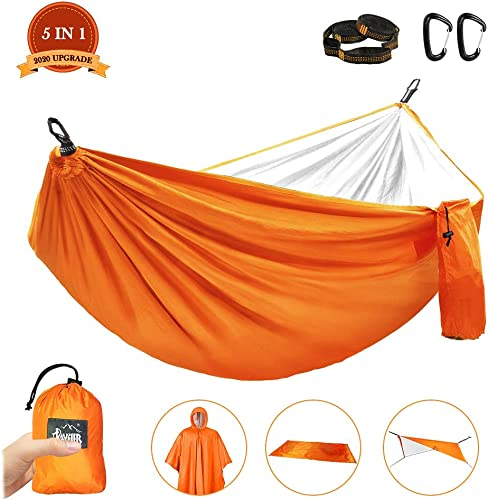 GOGOTIT Hammocks for Trees,Nylon Raincoat Hammock Tent,Lightweight Travel Camping Hammock with 2 Straps-Double Layer with Silver Coated for Sunshade,Rainfly-MAX Support 300lbs