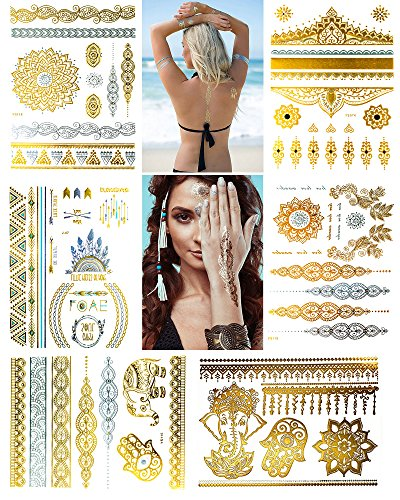 Waterproof Body Tattoo Sticker (Metallic Temporary Henna Tattoo, 75+ Waterproof Fake Shimmer Tattoos Stylish Designs Stickers for Body Art Gold and Silver for Parties, Festivals, Beaches and Weddings,Over 75 Number of Stickers)
