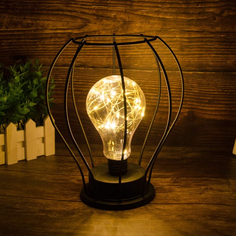 Lampada da Tavolo in metallo Vintage Edison Stile Ferro Cage