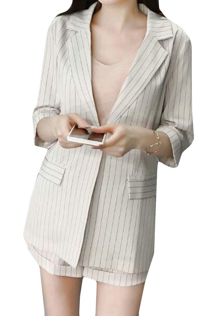 XTX Women Stylish Striped 1/2 Sleeve Loose Blazer and Shorts Business Suit Set