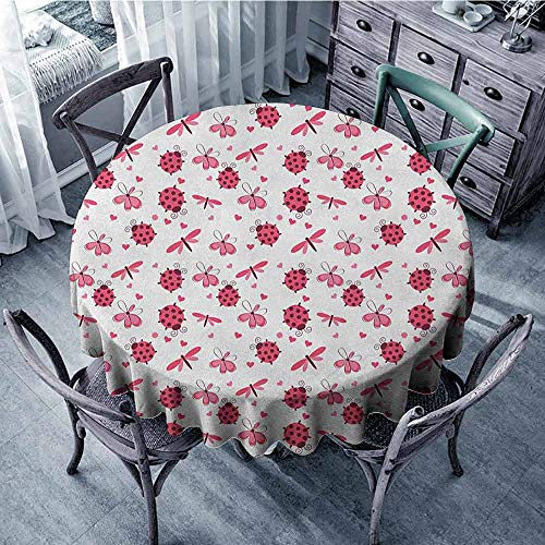 ScottDecor Kids Round Tablecloth Tassel Tablecloth Ladybugs,Domed Back Round Ladybugs with Hearts Flowers Dragonflies Romantic Wings Pattern, Red White Diameter 60