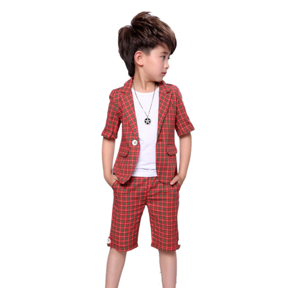 Uwback Uwaback Boys Plaid Summer Suits Kids 2Pcs Short Sleeve Blazer Shorts Red CN 100