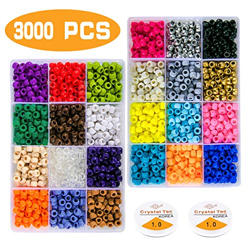 Greentime Pony Beads Jewelry Making Kit, 9mm Pony Beads Rainbow Opaque Beads Small Loose Spacer Beads for Friendship…