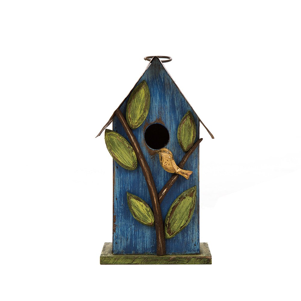 Glitzhome Distressed Leaves Wooden Garden Bird House 9.84 Inch