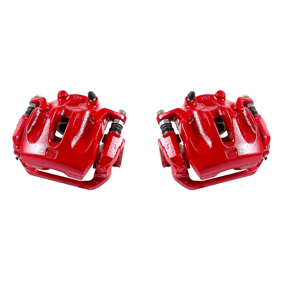 CK00953 [ 2 ] FRONT Performance Grade Red Powder Coated Semi-Loaded Caliper Assembly Pair Set Callahan Brake Parts
