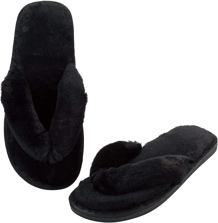 AONEGOLD Hausschuhe Damen Pl/üsch Flip Flops Pantoffeln rutschfeste Hausschuh Hause Schuhe Weiche Sohle Bequem Slippers