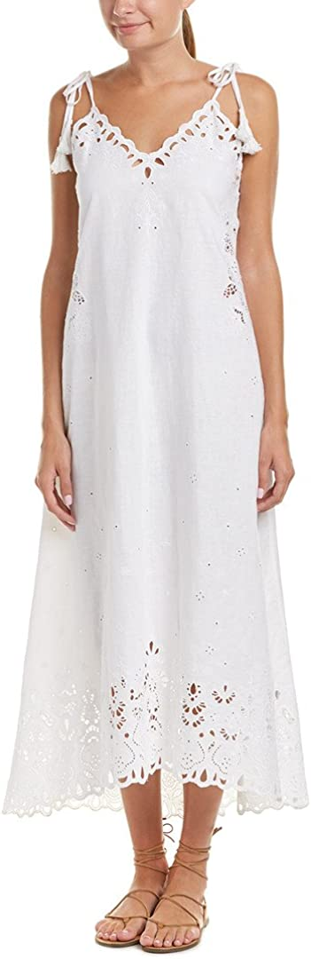 Theory Womens Taytee Light Linen Embroidered Dress