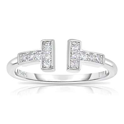5ba18c912e Sterling Silver Delicate Double Bar T Ring with White Cubic Zirconia - Size  5