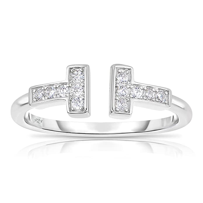1b42f9c841aa4 Unique Royal Jewelry Sterling Silver Delicate Double Bar T Ring with White  Cubic Zirconia