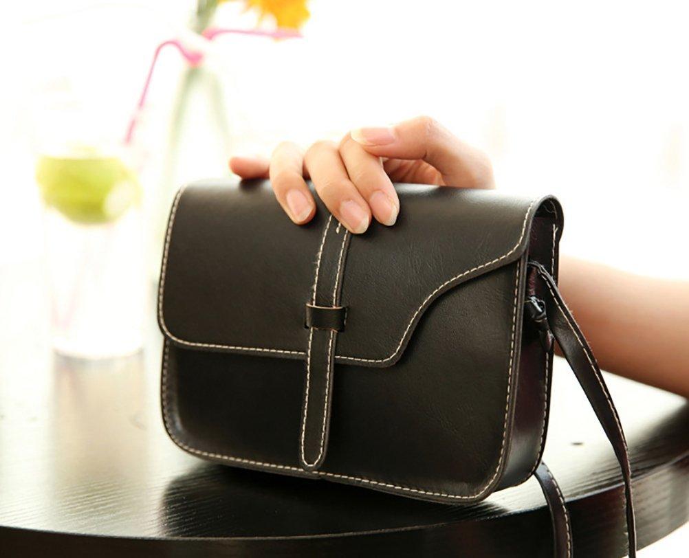 QZUnique Women's Soft PU Leather Fashion Vintage Style Cross Body Shoulder Bag Black by QZUnique (Image #2)