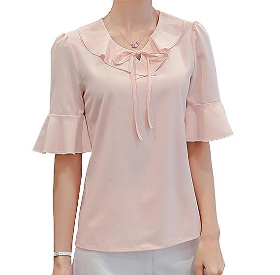 d33a29d7 Women's Polyester Blouse Short Sleeve Tops Petite Elegant Shirt Clothing  Pink