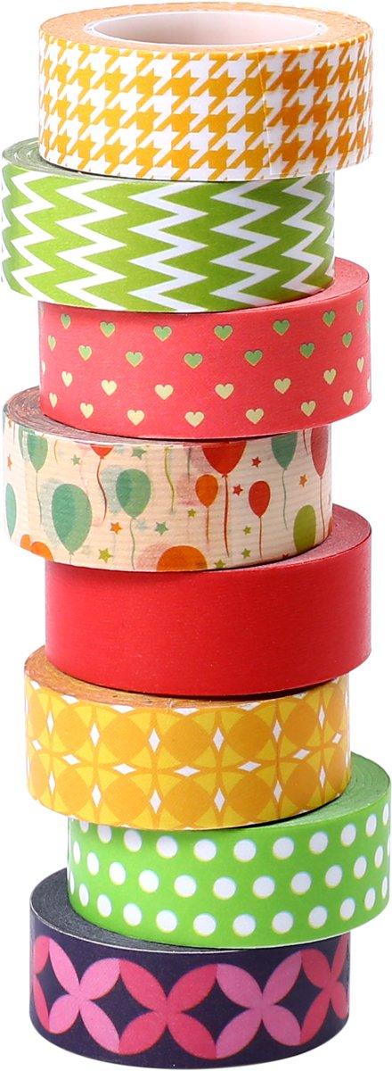 ST Washi Tape -Cinta Adhesiva Decorativa, Cinta de carrocero, 15mmX9.14m,8 Piezas ST Tape WT-15008K