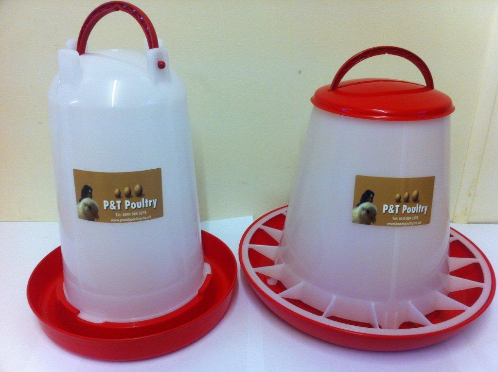 P&T Poultry 3Kg Feeder & 3Ltr Drinker For Chickens/Hens/Ducks/Chicks