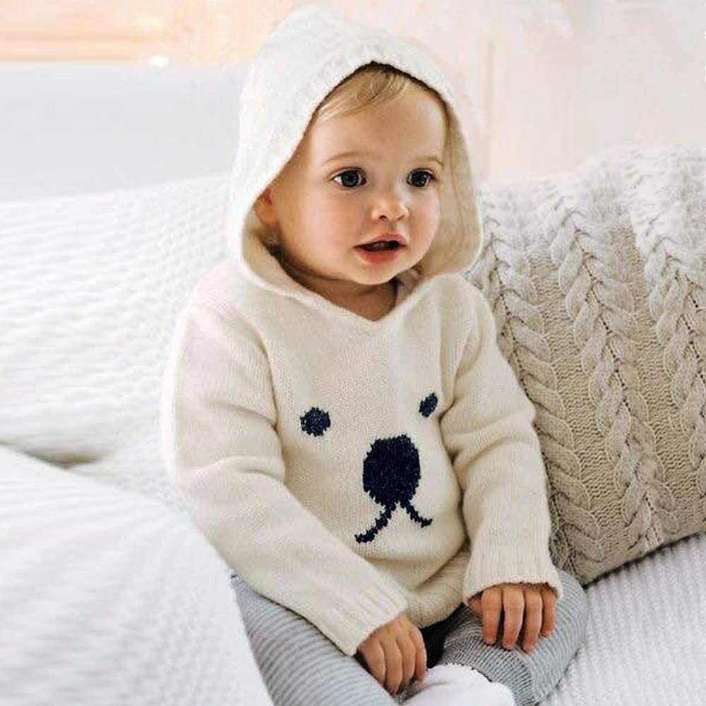 Pollyhb Infant Baby Boys Girls Cartoon Bear Knitted Hooded Tops Sweater Outfits