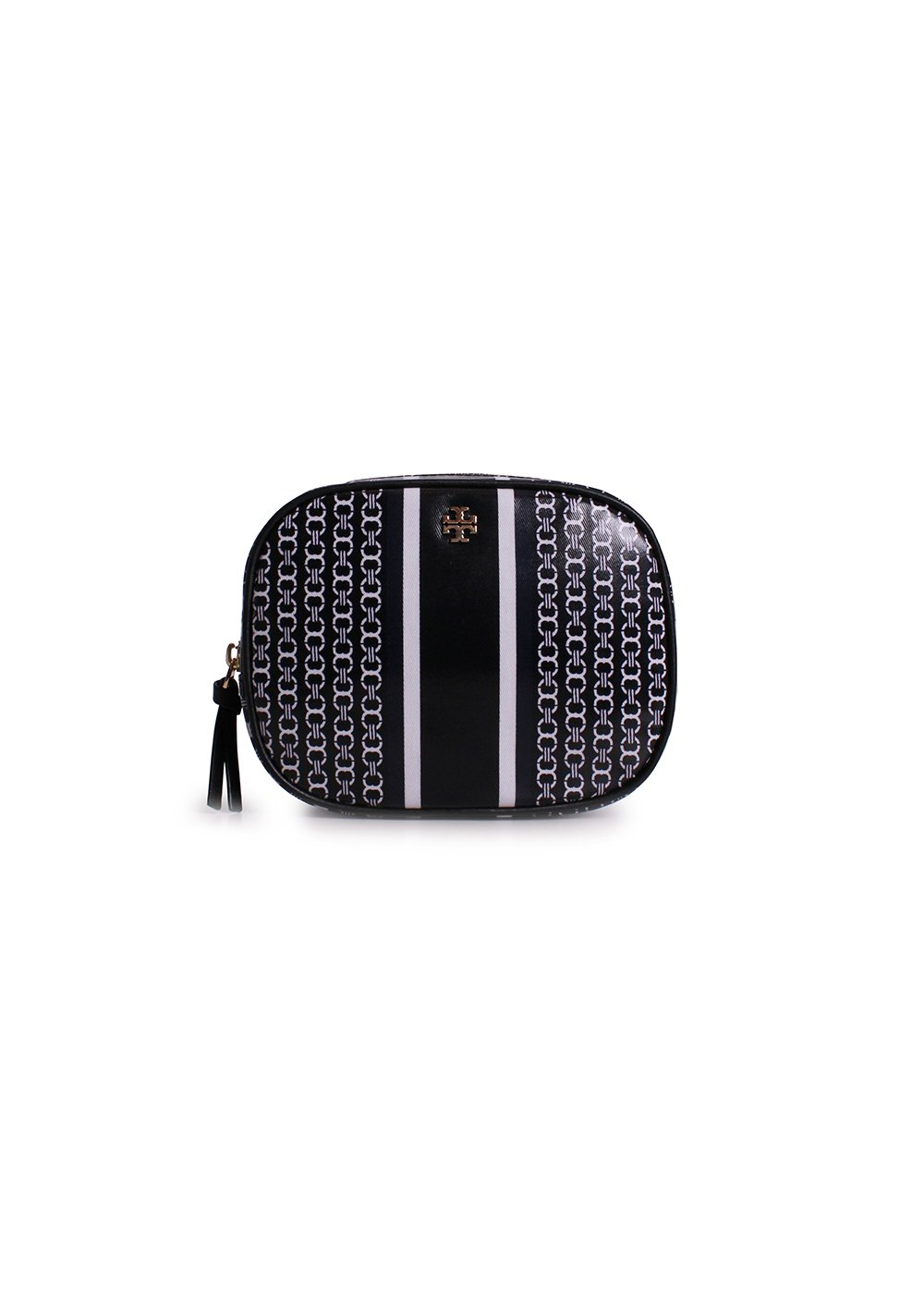 Tory Burch Gemini Link Canvas Cosmetic Case in Black Stripe