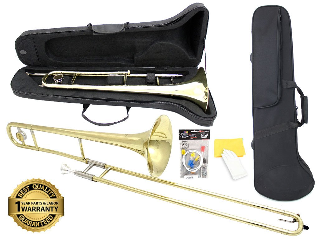 D'Luca 750L 750 Series Brass Bb Tenor Slide Trombone, Professional Case, Cleaning Kit, Gold