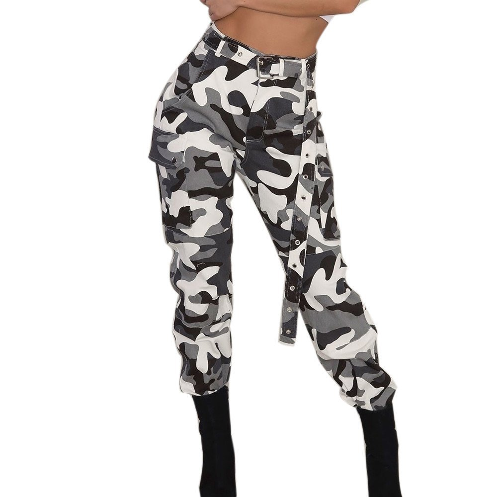 CMrtew ❤️ Womens Fashion New Camo Cargo Trousers Casual Skinny Pants Military Army Combat Camouflage Pants (White, L)