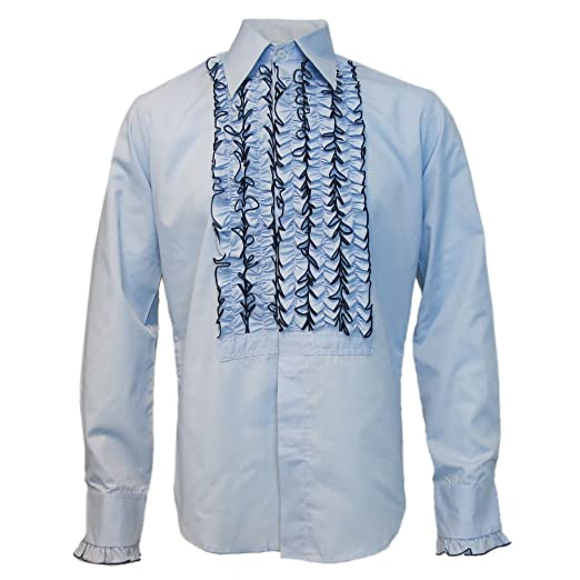 1960s Inspired Fashion: Recreate the Look Mens Light Blue Chenaski Ruffle Ruche Frill Dinner Tuxedo Retro 70s Shirt £39.95 AT vintagedancer.com