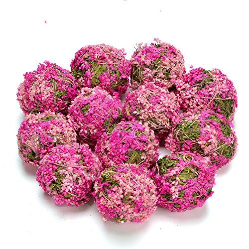 (Byher Decrative Ball with Flowers for Bookshelf, Table, Tree, Party, House Decoration (Pink - 3.5