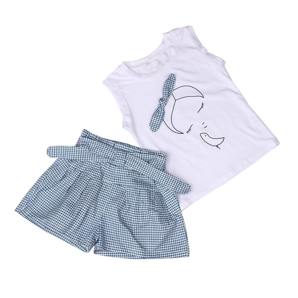 ❥Elecenty 2PCS Mädchen Kleidung Set , Sommer Outfit Set Ärmellos Bowknot Drucken T-Shirt Tops Hemd+ Plaid Kurze Hosen Bekleidungssets Baby Girl Mode Tägliche Kleidung Pullover