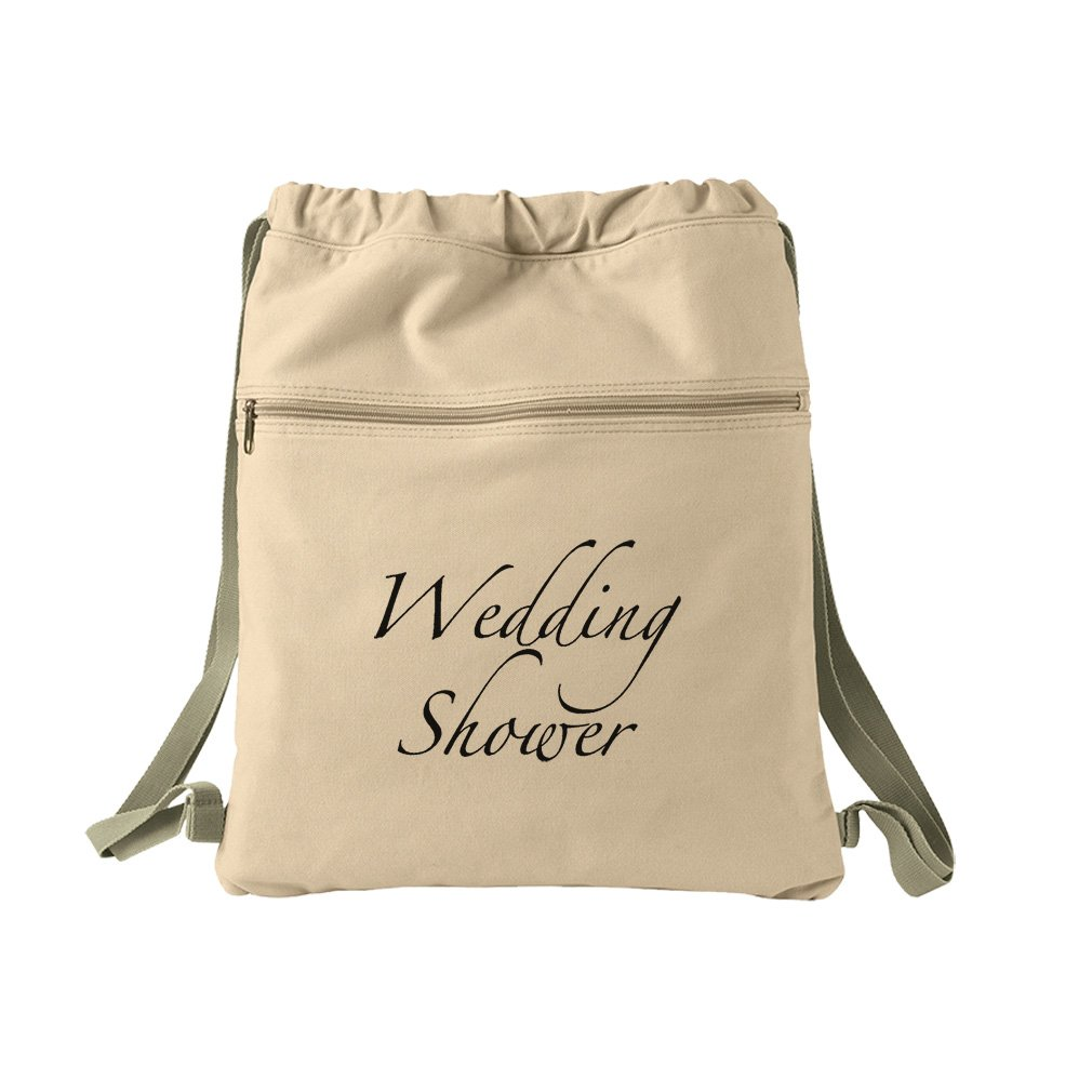 Wedding Shower Vintage Look Canvas Dyed Sack Backpack Bag
