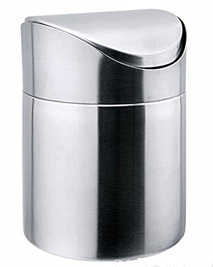 Mini Basura de la Encimera Con tapa oscilante, Mesa de Acero Inoxidable Basura de Escritorio Cocina Countertop papelera 1.5 L / 0.40 Gal (Silver)