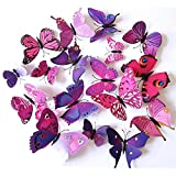 Large Bathroom Mirror Makeover FLY SPRAY 3D Purple Butterfly Removable Mural Wall Stickers Wall Decal For Home Decor(FBA)