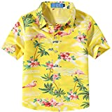 SSLR Big Boy's Pink Flamingos Button Down Casual Short Sleeve Hawaiian Shirt (Medium(10-12), Bright Yellow)