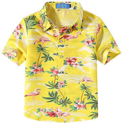 SSLR Big Boy's Flamingos Button Down Short Sleeve Aloha Hawaiian Shirt (X-Small(6), Bright Yellow) ()
