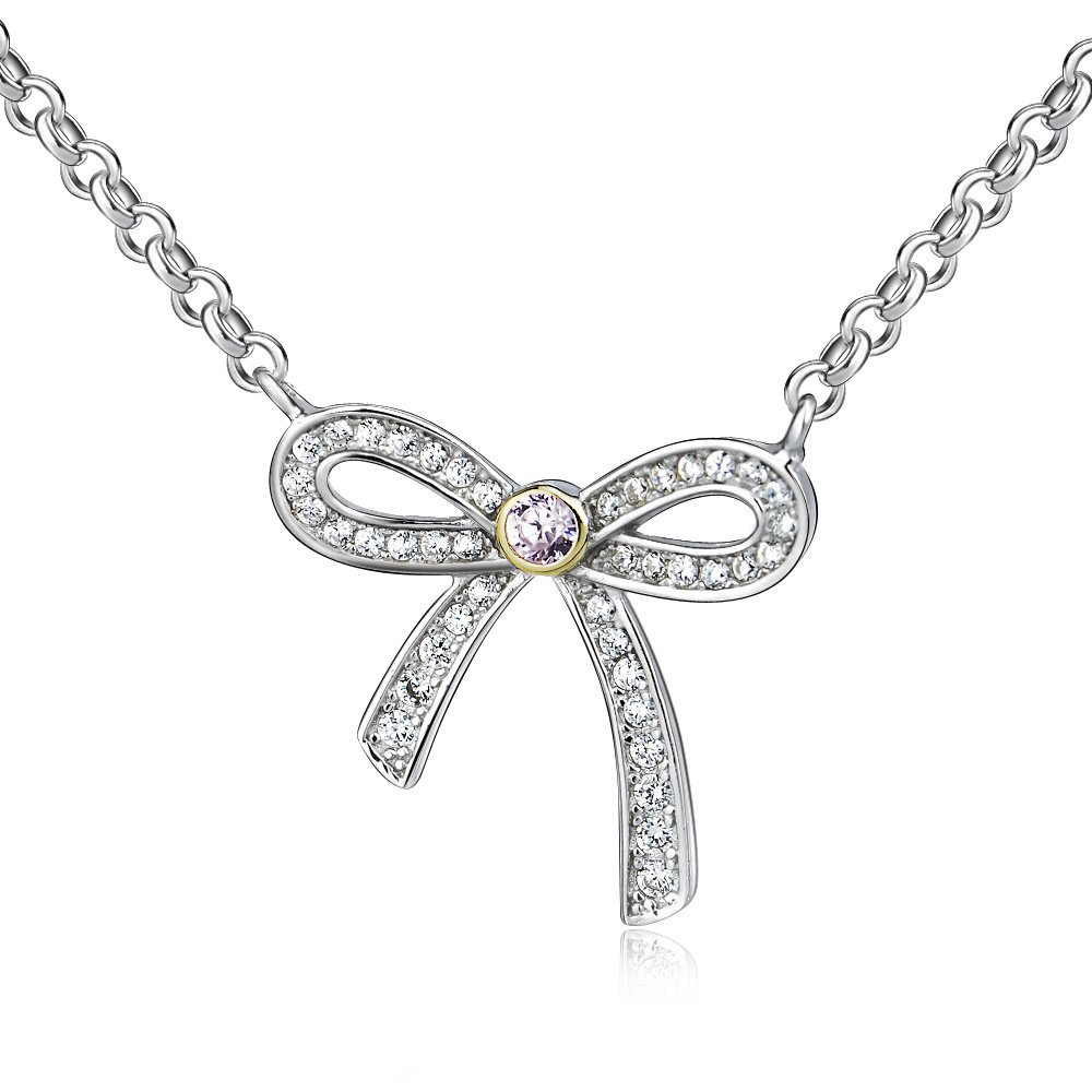 Sojewe Women 925 Sterling Silver Bow Exqusite Grade O Necklace Crystal Pendant 18 Inch Rhodium Plating Singapore Chain
