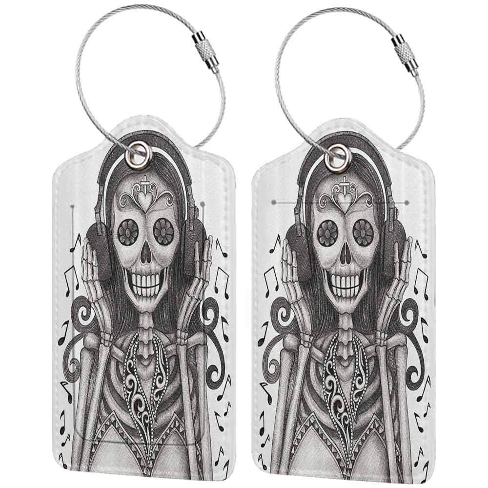 Flexible luggage tag Day Of The Dead Decor Dia de Los Muertos Skull Girl with Headphones Music Lover Print Fashion match Dust and Dimgrey W2.7 x L4.6