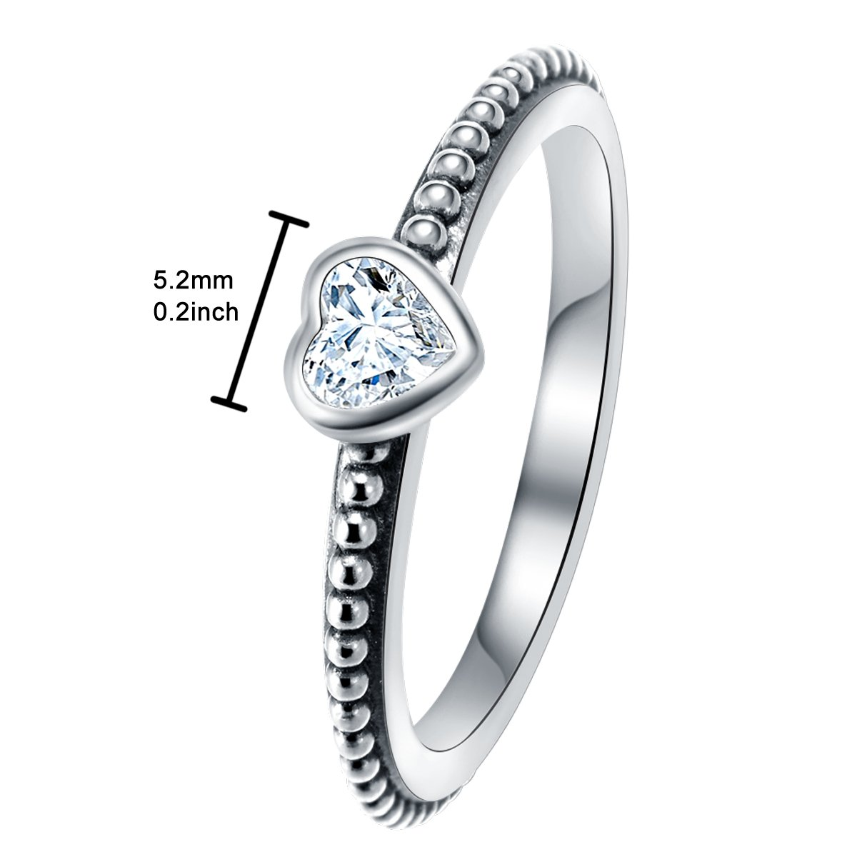 Changeable Solitaire Promise Rings - White Crystals, Solid 925 Sterling Silver # Size 6 (Soul Heart) by Changeable (Image #2)
