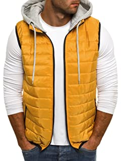 b259c919a70d7d Puwany Mens Winter Vest Removable Hooded Quilted Warm Sleeveless Jacket  Vests
