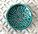 Green Ring Dish - Handmade Jewelry Bowl - Bohemian/Boho dish with stamped floral pattern and emerald green glaze