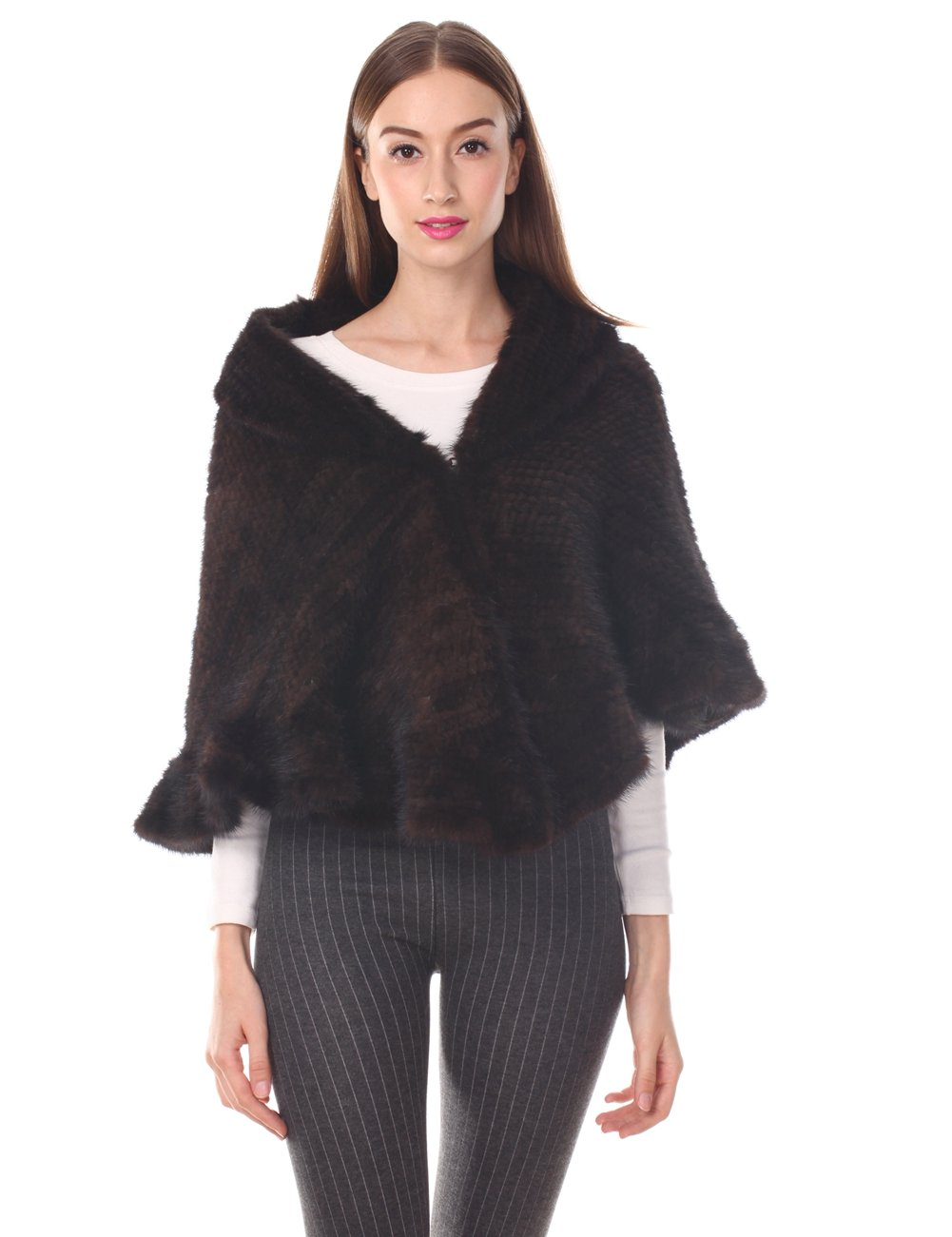 Ferand Ruffled Knitted Mink Fur Stole, Lightweight Closable One Size Fits All for Women, Brown