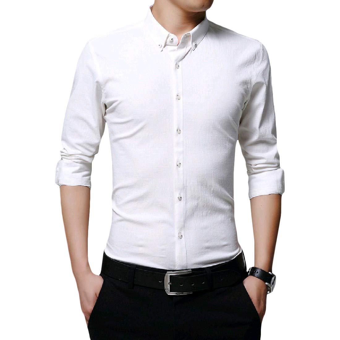 Zimaes-Men Office Basic Pure Colour Plus Size Tees Polo Shirts