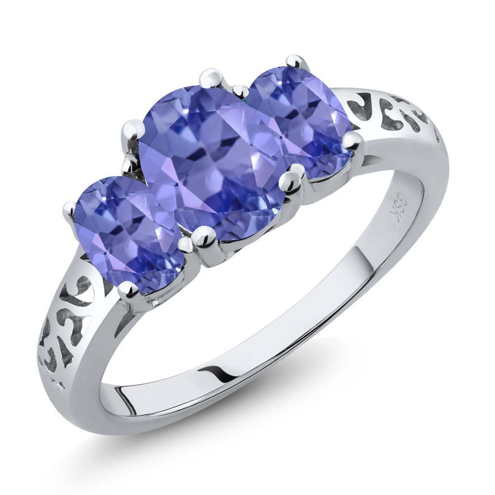 2.45 Ct Oval Blue Tanzanite Gemstone 925 Sterling Silver 3-Stone Women's Ring (Available in size 5, 6, 7, 8, 9)