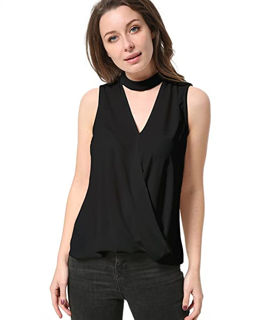 b13642ac249ddf Kaigenina Women Blouse Chiffon Knit Vest Choker Top Womens Shirts (XS, Black )