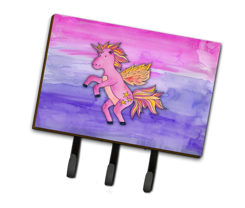 Caroline's Treasures Pink Unicorn Watercolor Wall Hook Triple Multicolor