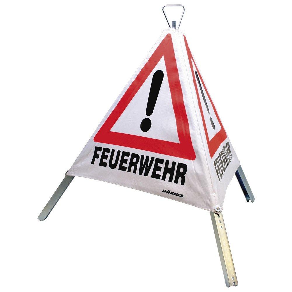 Dö nges Faltsignal, Tagesleuchtfarbe, 3 x Feuerwehr, 700 mm, 218100 Dönges