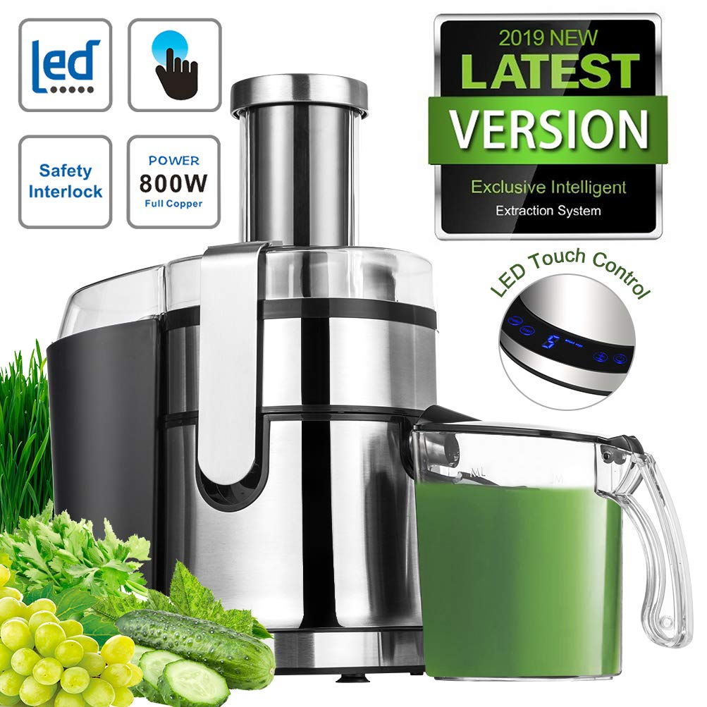 Juice Extractor Centrifugal Juicer Machine Large Mouth Masticating Cold Press 2019 NEWEST LED Touch Control Function with Juice Jug 800W Fruit Vegetable Easy Clean Stainless Steel Silvery