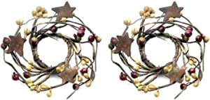 "4"" Pip Berries Mini Wreath Candle Ring Set Primitive Country Home Decor, 1"" Inner, Rosehip Mustard"