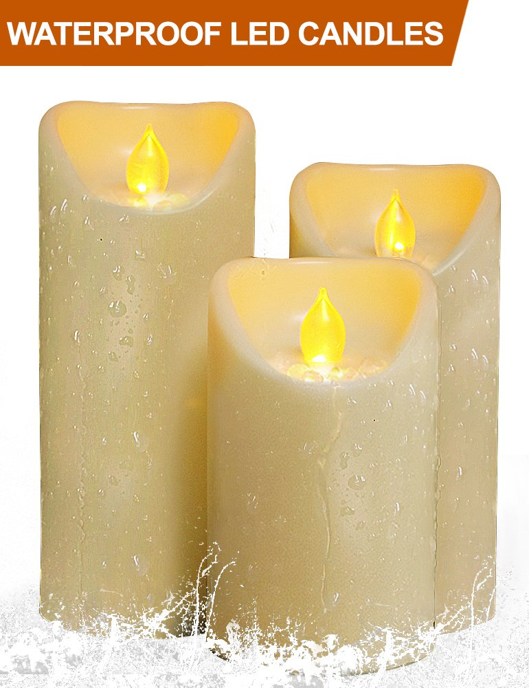 HOME MOST Set of 3 LED Pillar Candles Battery Operated (CREAM, 5''/6''/7'' Tall, Oblique Edge) - Outdoor Candles with Timer Waterproof Candles - Flameless Candles Flickering Fake Candles - Outdoor Decor